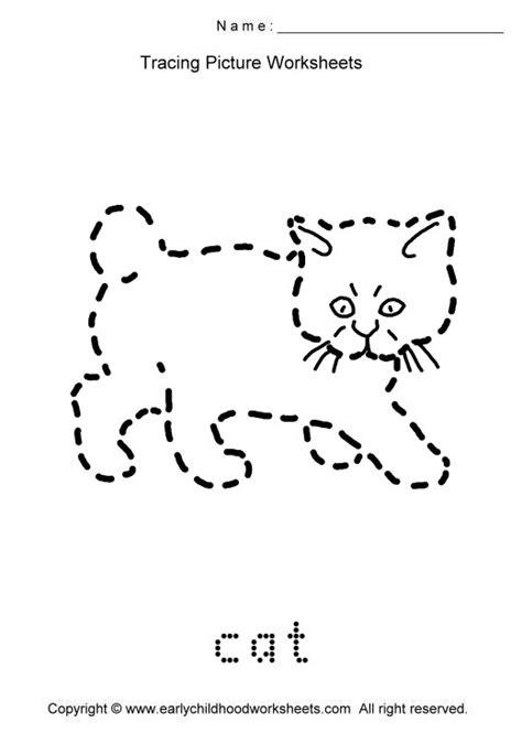 tracing cat picture worksheets for kindergarten and preschool