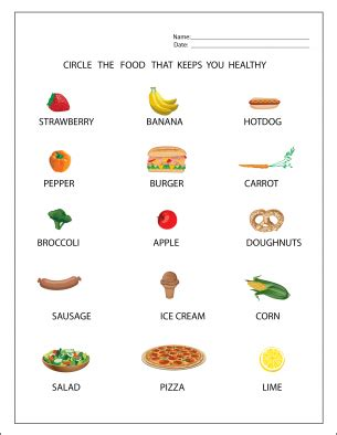healthy food worksheets