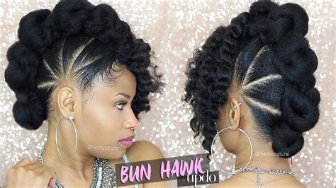 bad azz bun hawk updo natural hair tutorial youtube