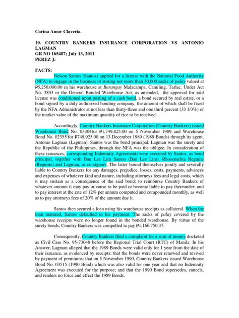 Country bankers life insurance corporation. 284038431 Country Bankers Insurance Corporation vs Antonio Lagman | Surety Bond | Insurance