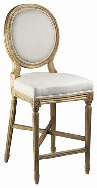 french country bar stools French Country Medallion Back Bar Light Linen Bar Stool ...