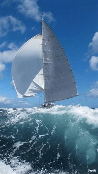 Boat Yacht Sailing Sail Away Animated Waves