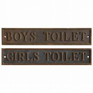 antique school restroom bronze signs at 1stdibs With antique bathroom sign