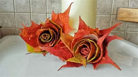 ls made from leaves how to make a rose with maple leaves youtube