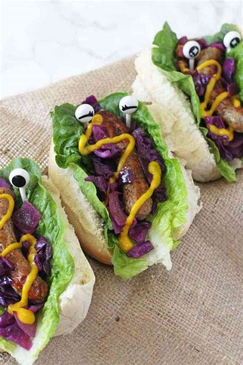 Because he likes to toss his hot dog at tiffany, if you catch my. Monster Hot Dogs with Warm Red Cabbage Slaw - My Fussy Eater