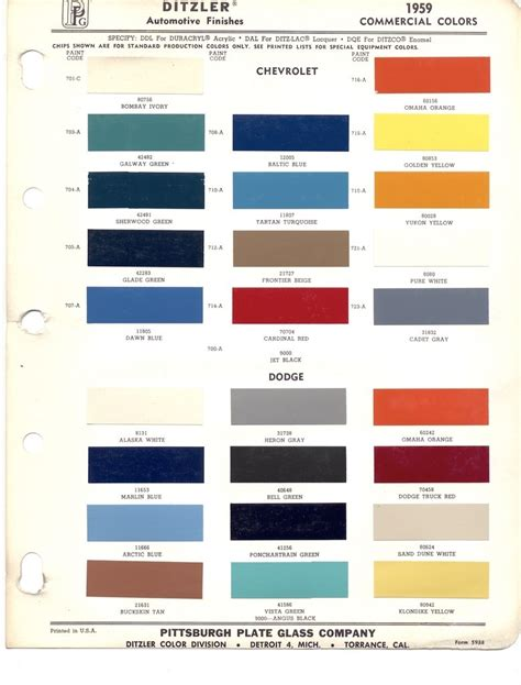 Dupont Car Colours by Paint Chips 1959 Chevy Truck