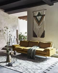 Living Style Möbel : wohnzimmer makrame senfgelb einrichtung interior ~ Watch28wear.com Haus und Dekorationen