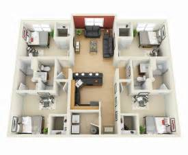 Small Bedroom Floor Plans by 50 Four 4 Bedroom Apartment House Plans Architecture