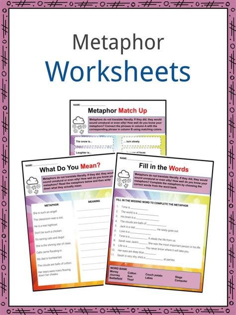 metaphor examples definition  worksheets
