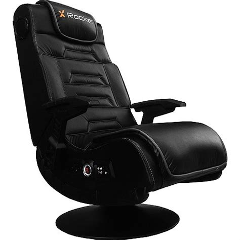 x rocker pro black faux leather gaming chair w pedestal 51396 ebay