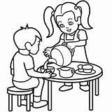 Coloring Tea Colouring Cartoon Clipart Sheet Autism Boy Cliparts Boston Children Clip Retirement Child Library Frank Anne Fleur Lis Making sketch template