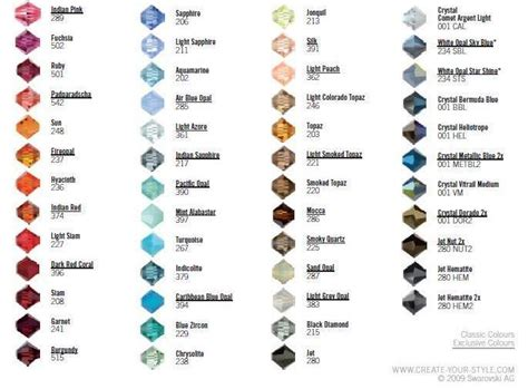 swarovski colour chart beads  crystals swarovski