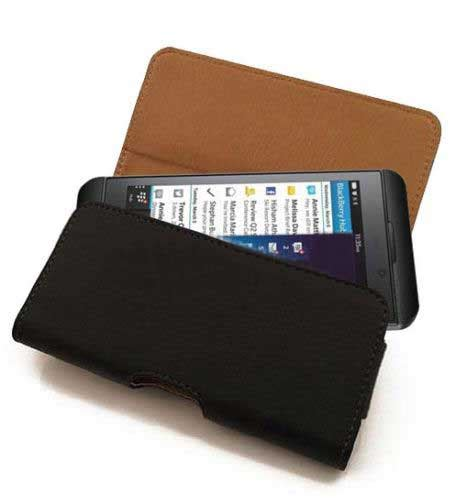 horizontal belt style blackberry z10 flip leather pouch cover with free calans screen