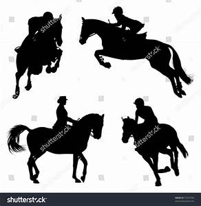Four Horse Rider Silhouettes Stock Vector 55337704 ...