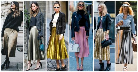 10 Lovely Outfits With Metallic Pleated Skirts