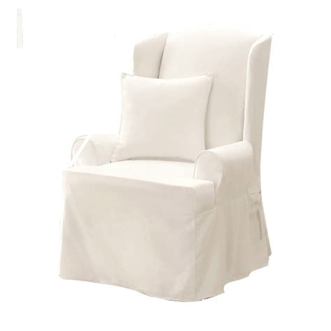 white wingback chair slipcover sure fit twill 100 cotton supreme wing chair slipcover