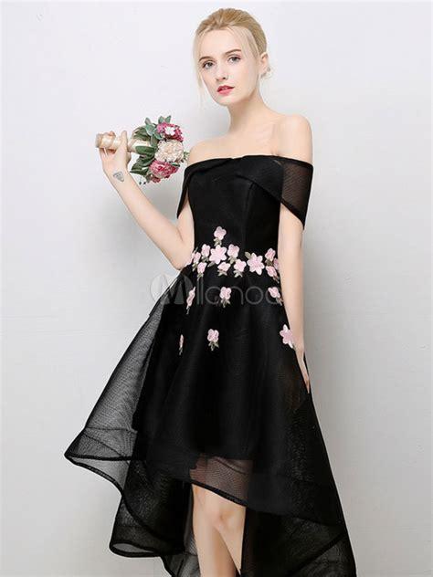 short prom dress black high  cocktail dress