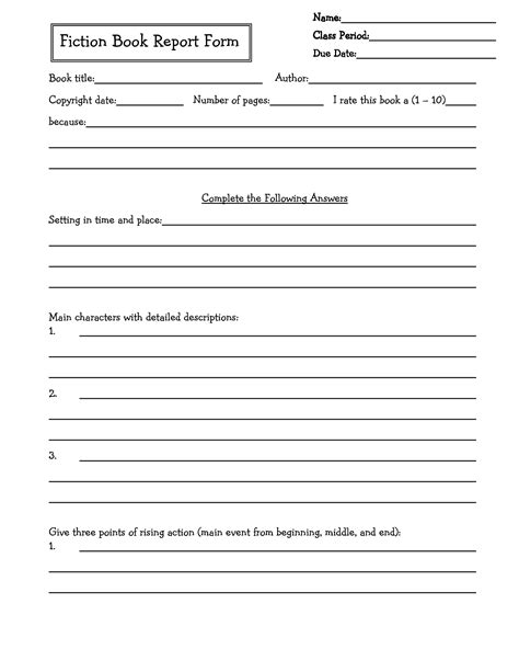 2nd Grade Book Report Forms by Printable Book Report Forms For 4th Grade 6 Best Images