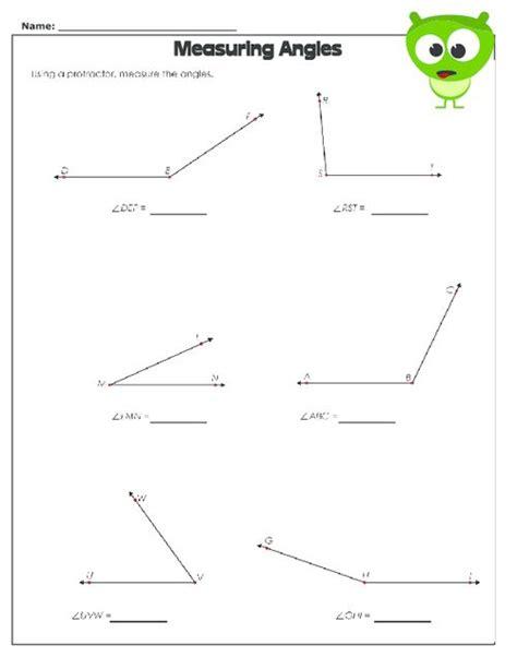 measuring angles worksheet protractor free worksheets