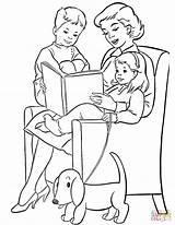 Coloring Reading Pages Mom Children Printable Drawing Paper sketch template