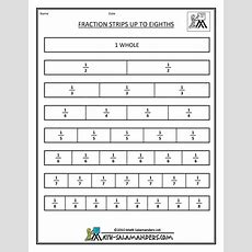 Printable Fraction Strips  Fractions Activities Pinterest