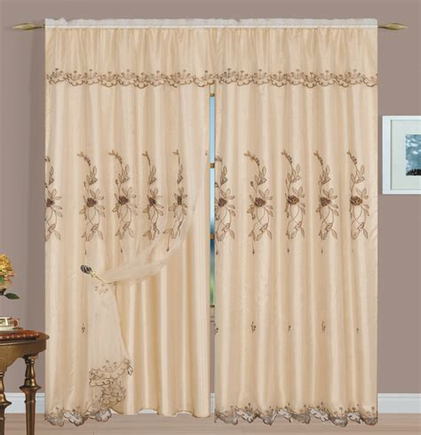 margot sheer embroidery panel beige luxury home textiles