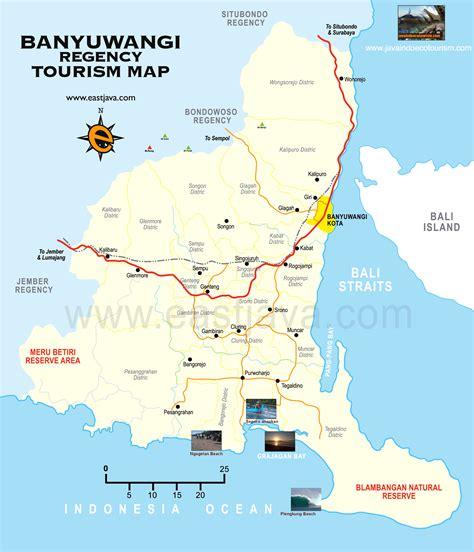banyuwangi tourism map map  banyuwangi east java
