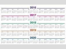 Calendar 2016 2017 2018 2019 2020 Stock Vector Image