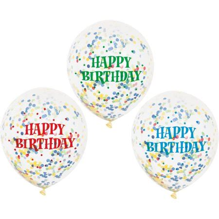 "12"" Assorted Happy Birthday Confetti Balloons, 6ct"