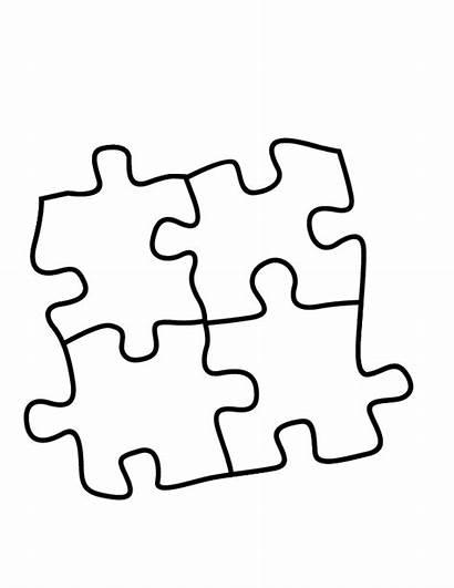 Puzzle Coloring Pieces Piece Clipart Clip Autism
