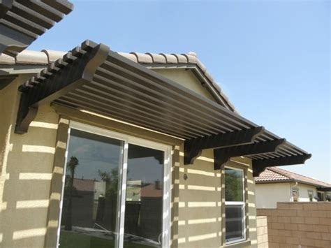 horizontal slat awning  wood canopy outdoor rustic