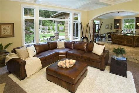 brown sectional  white accents  wood  stone