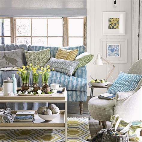 country living room  blue sofa decorating ideal home