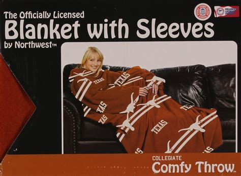 Comfy Throw Fleece Blanket With Sleeves Licensed College- Texas Longhorns Knitted Baby Blanket Patterns Easy Homemade Blankets No Sew Personalized Minky Christmas Pigs In A Crochet Youtube Marvin The Martian What Is Receiving Used For Silk