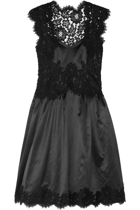 Lyst Moschino Lace Trimmed Satin Dress In Black