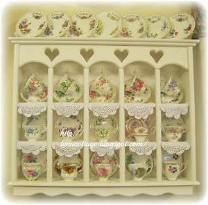 Antique, Tea, Cup, Collection, Displayed, In, A, Cute, Little, Cabinet