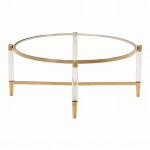 clear acrylic gold round coffee table modern furniture With clear and gold coffee table