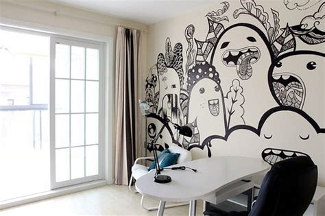 Bedroom Wall Drawings by Creative Painted Wall