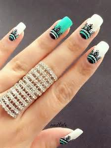 Best green and white nail art design ideas for girls