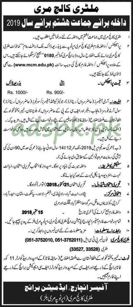 military college murree admissions  open   class