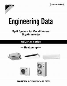 Daikin Engineering Data Split  Skyair Inverter Rzq Heat