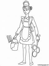 Maid Coloring Pages Drawing Drawings Printable Chambermaid Housemaid Career Fans 04kb 750px sketch template