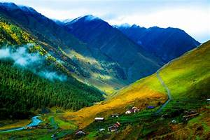Mountains valley road village view color beautiful ...