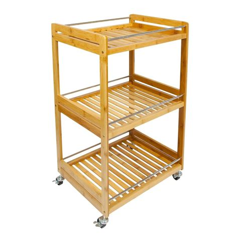 woodluv bamboo  tier kitchen storage serving trolley
