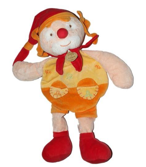 doudou et compagnie range pyjama clown orange jaune do re mi 48 cm