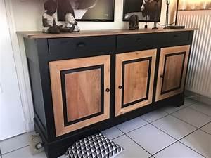 Buffet Bois Et Noir : buffet bahut merisier trois portes trois tiroirs noir et ~ Melissatoandfro.com Idées de Décoration