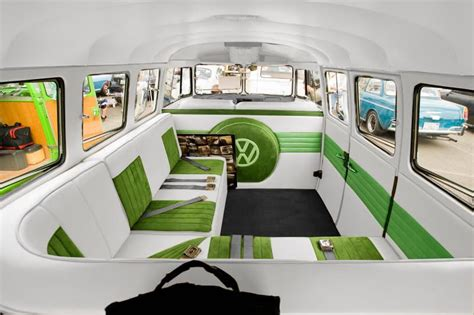volkswagen van inside vw bus interior plan to have leather and suede inserts