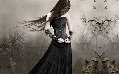 Gothic Dark Sad Lonely Graveyard Fantasy Woman