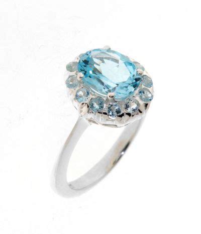 bague argent topaze bleue style marquise ref 27829