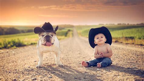 Childrens Animal Wallpaper - children cowboy hats animals jake road
